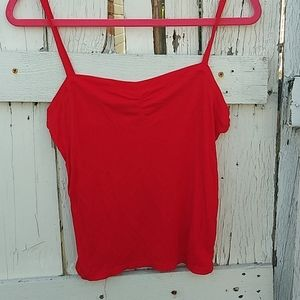 Project social T red ribbed tank size L
